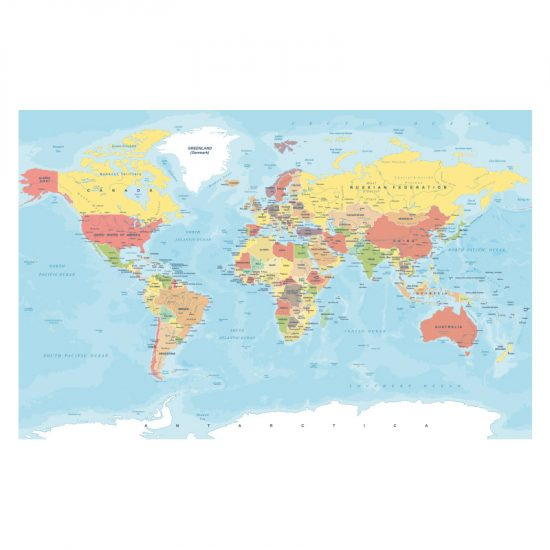 muursticker wereldkaart kleur wand landkaart kinderkamer stoerne
