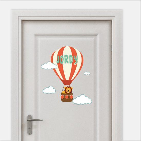 deursticker naamsticker kinderkamer luchtbalon wolken leeuw dieren vrolijk cartoon ideeen inspiratie verven