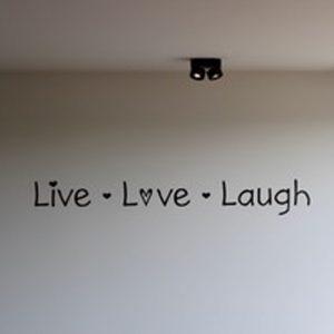 leuke tekst slaapkamer woonkamer keuken zwart live love laugh liefde hartjes zwart muurdecoratie wandsticker