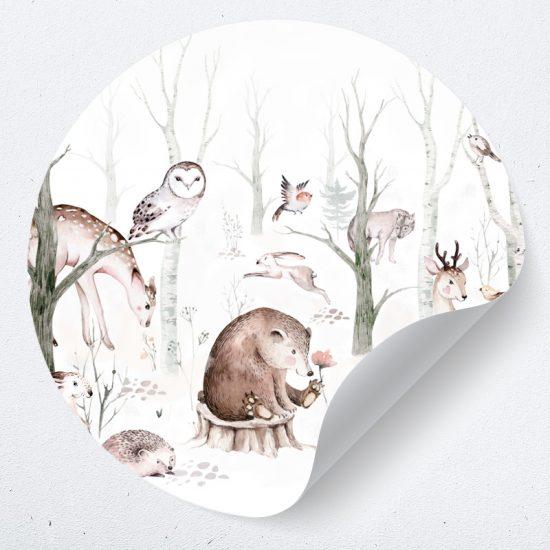 muurcirkel behangcirkel dieren muursticker zelfklevend behang beer egel vos hert bomen muurdecoratie babykamer kinderkamer