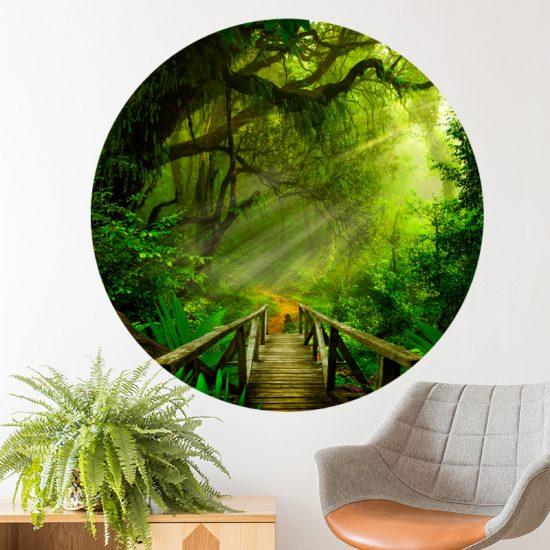 muurcirkel jungle muurdecoratie behangcirkel zelfklevend planten bomen woonkamer accessoires decoratie wand