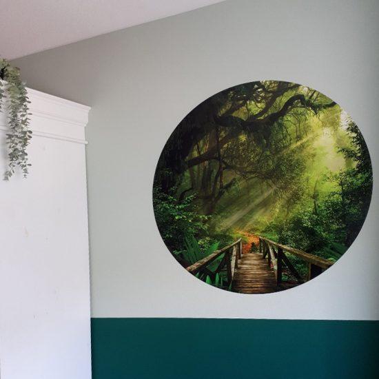muurcirkel jungle slaapkamer decoratie muurdecoratie groen ideeen inspiratie