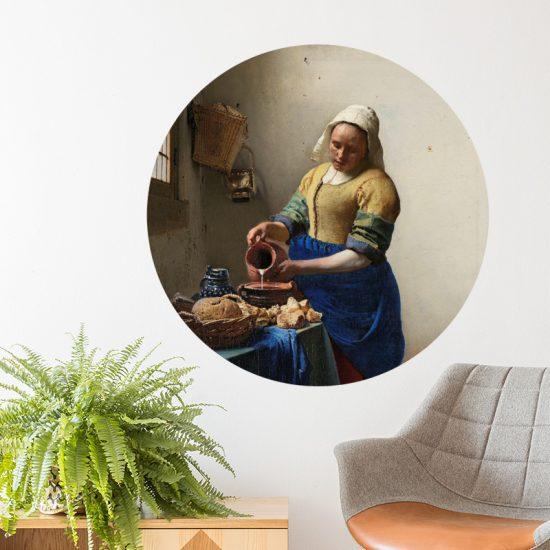 muurcirkel meisje melk muurdecoratie vermeer johannes accessoires rond cirkel behang