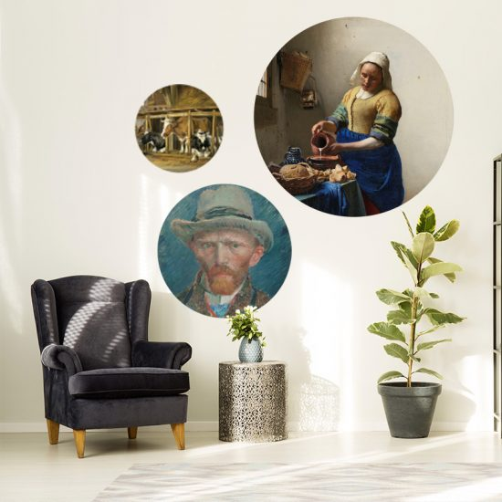muurcirkel set muurdecoratie woonkamer behangcirkel vermeer schilderij kunst van gogh melk meisje zelfportret koeien