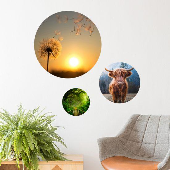 muurcirkel wanddecoratie muurdecoratie ideeen inspiratie muur woonkamer kleurrijk modern huiselijk warm