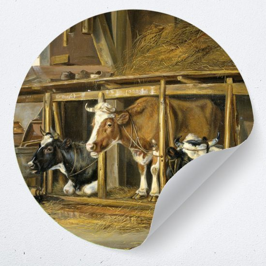muurcirkel wandsticker poster zelfklevend koeien stal boerderij muurdecoratie woonkamer slaapkamer kinderkamer