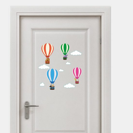 muursticker deursticker luchtbalonnen dieren giraffe leeuw wolken olifanten lucht wolkjes inspiratie deur ideeen verven acessoires