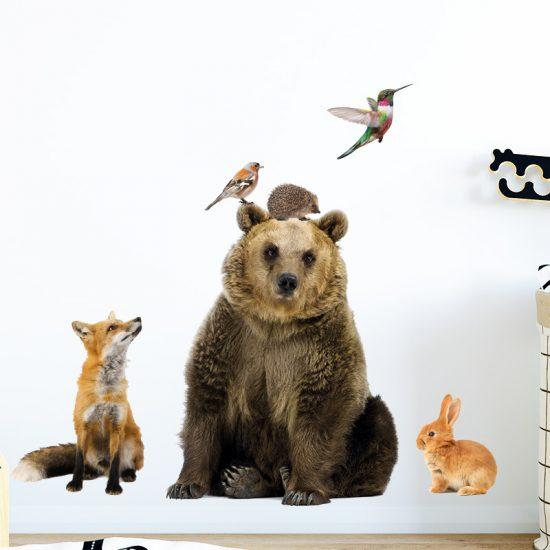 muursticker dieren echte kek vogel kolibrie beer konijn vos