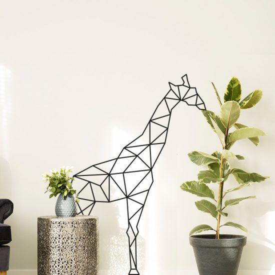 muursticker giraffe eet plant grappige origami zwart woonkamer ideeen inspiratie