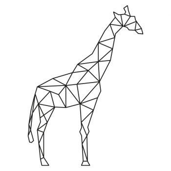 muursticker giraffe origami zwart lijnen gappig