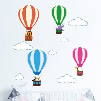 muursticker luchtbalonnen met dieren kinderkamer babykamer inspiratie muur verven ideeen 2021 mode acessoires