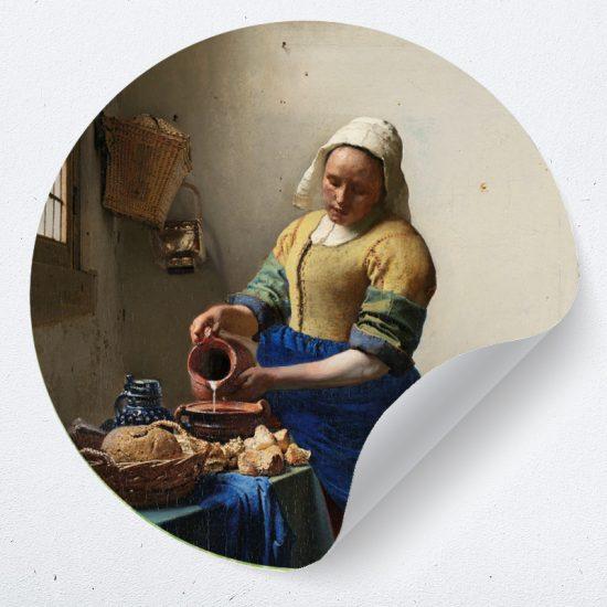 muursticker muurcirkel behangcirkel zelfklevend meisje melk muurdecoratie accessoires ideeen inspiratie