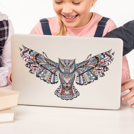 muursticker uil laptop sticker back deursticker dieren kinderkamer muurdecoratie inspiratie acessoires