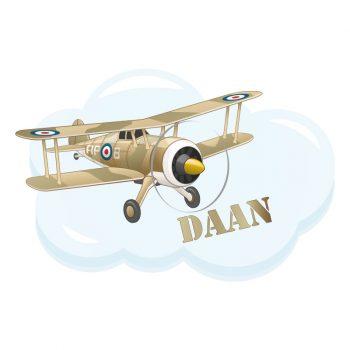muursticker vliegtuig met naam leger kinderkamer stoer acessoires ideeen inspiratie decoratie naamsticker