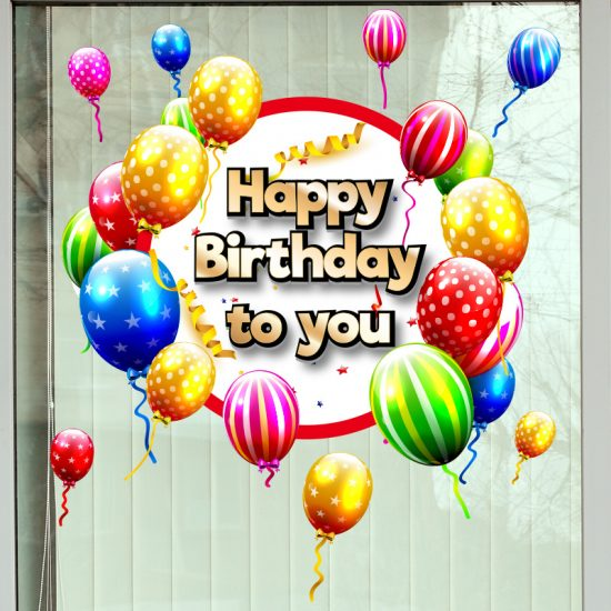 raamsticker muursticker happy birthday verjaardagsticker verjaardag 1st 50 abraham sarah 30 100 18 jaar jarig feest balonnen slingers