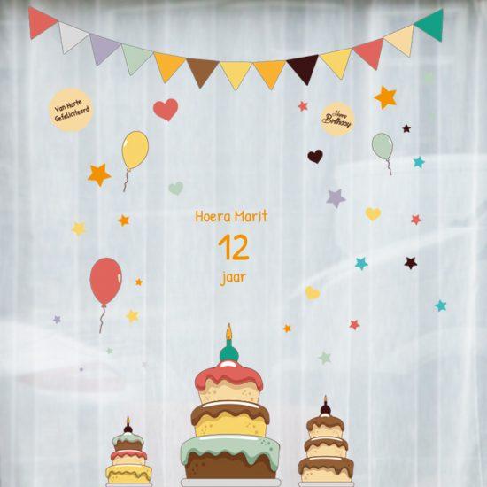 raamsticker verjaardag herbruikbaar statisch full colour taart