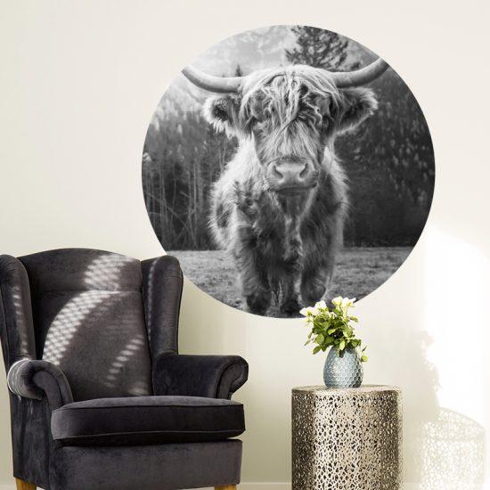 schotse hooglander muurcirkel muurdecoratie woonkamer inspiratie zwart wit_
