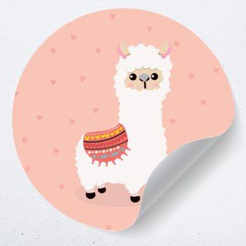 muurcirkel alpaca hartjes lama behangcirkel zelfklevend poster