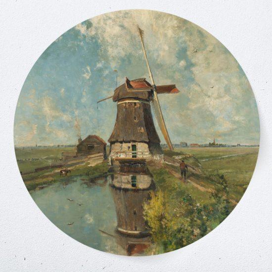 muurcirkel behangcirkel muurdecoratie wanddecoratie kunstwerk woonkamer schilderij inspiratie ideeen windmolen