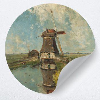 muurcirkel behangcirkel muurdecoratie wanddecoratie kunstwerk woonkamer schilderij inspiratie ideeen windmolen weide