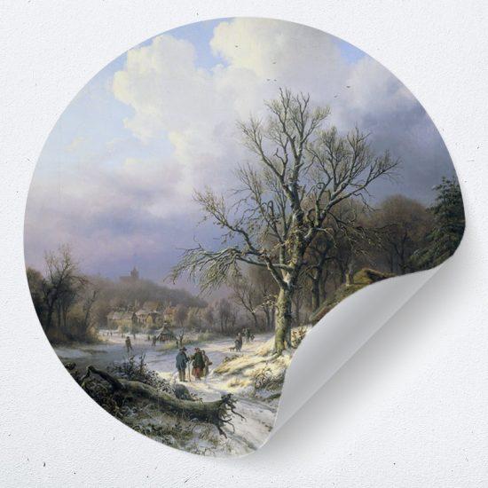 inspiratie muurcirkel behangcirkel sneeuwlandschap kunstwerk muurdecoratie wanddecoratie woonkamer keuken