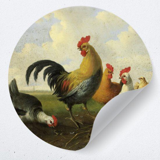 muurcirkel behangcirkel wanddecoratie muurdecoratie woonkamer interieur ideeen inspiratie haan kippen dieren