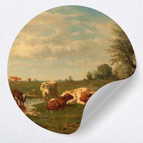 muurcirkel koeien gerard landschap behangcirkel schilderij kunstwerk woonkamer muurdecoratie wanddecoratie