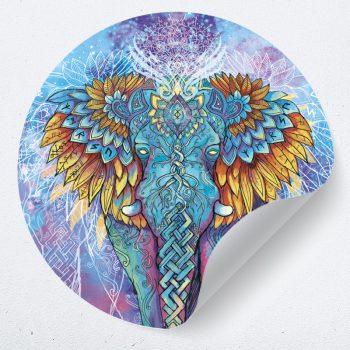 muurcirkel muursticker muurdecoratie wandsticker behangcirkel psychadelische psychadelic elephant olifant kleurrijk