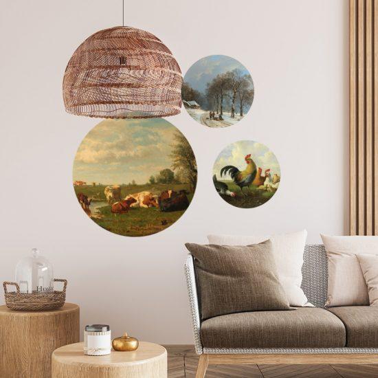 muurcirkels behangcirkel muurdecoratie woonkamer kip ijs sneeuwlandschap koeien haan gezellig wanddecoratie