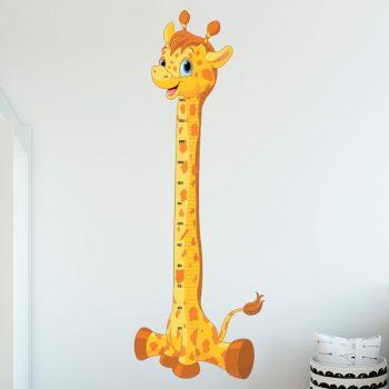 muursticker groeimeter baby giraffe lengte meter deursticker muurdecoratie kinderkamer vrolijk verven wand1