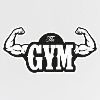 muursticker gym zwart fitness sportschool spierballen muurdecoratie