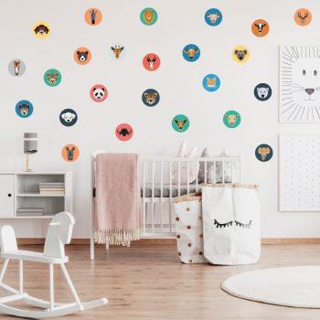 Muursticker kinderkamer babykamer dieren cirkels muurdecoratie kinderkamer aap olifant hond kat