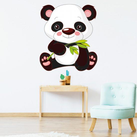 Muursticker panda schattige panda dieren kinderkamer babykamer idee inspiratie dieren sticker