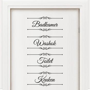 badkamer toilet keuken washok sticker set laundry bathroom wc kitchen nederlands zwart muurstickers deurstickers