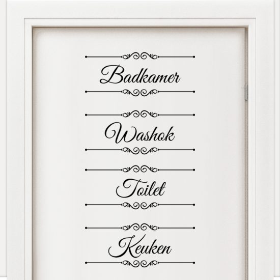 badkamer toilet keuken washok sticker set laundry bathroom wc kitchen nederlands zwart muurstickers deurstickers