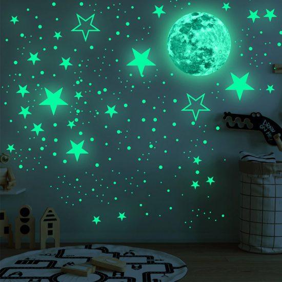 glow in the dark vinyl stickers sterren hemel maan lichtgevend rondjes babykamer kinderkamer landing