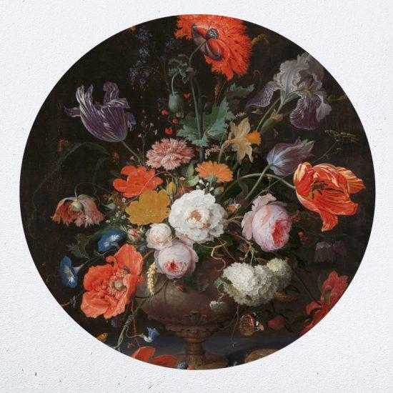 muurcirkel behangcirkel muurdecoratie wanddecoratie kunstwerk woonkamer schilderij inspiratie ideeen bloemen in vaas vase of flowers
