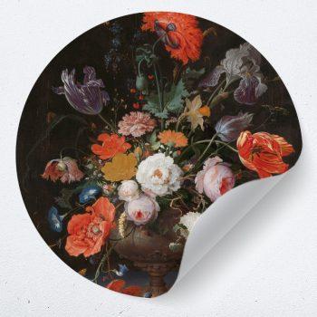 muurcirkel behangcirkel muurdecoratie wanddecoratie kunstwerk woonkamer schilderij inspiratie ideeen bloemen vaas poster