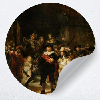 muurcirkel behangcirkel muurdecoratie wanddecoratie kunstwerk woonkamer schilderij inspiratie ideeen nachtwacht schilderij