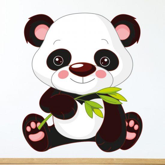 muursticker panda kinderkamer babykamer vrolijk beer
