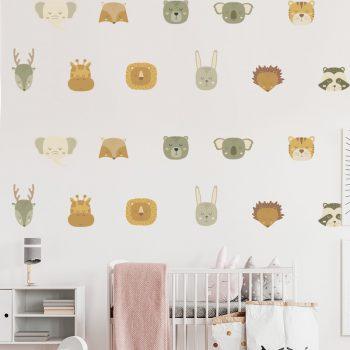 muursticker patronen patroon behang zelfklevende dieren koppen behang dierenkop leeuw hert konijn tijger giraffe leeuw olifant vos egel schattige babykamer kinderkamer muurdecoratie