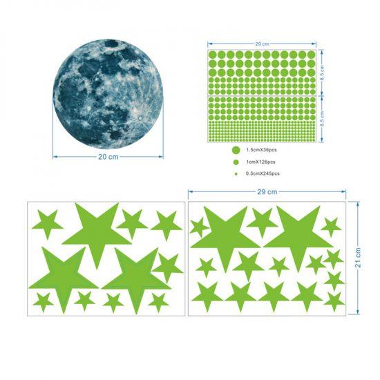muursticker sterren glow in the dark kinderkamer lichtgevende stickers maan planeten