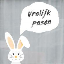 raamsticker vrolijk pasen easter egg konijn herbruikbare stickers statisch