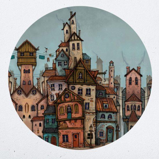 muurcirkel lance schmale fantasie stad kleurrijk kinderkamer speels ideeen