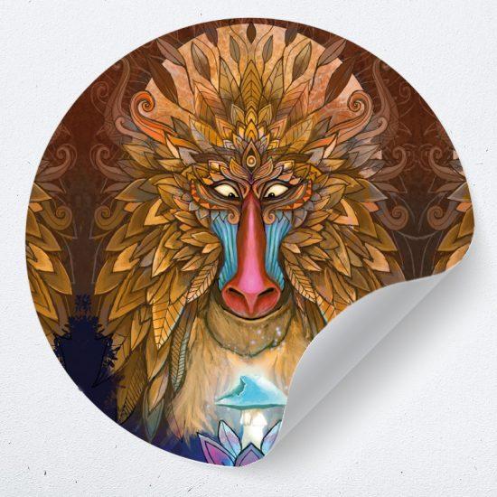 muurcirkel leeuw psychedelisch lion king truffel psiloschibine muurdecoratie kunst woonkamer yoga namaste 1