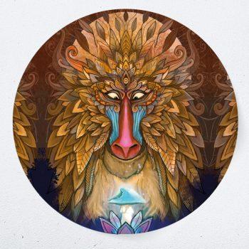 muurcirkel leeuw psychedelisch lion king truffel psiloschibine muurdecoratie kunst woonkamer yoga namaste