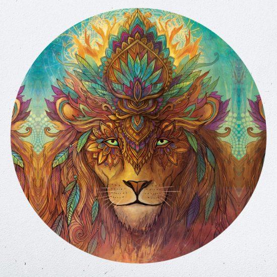 muurcirkel muursticker muurdecoratie woonkamer yoga namaste leeuw lion psychedelisch