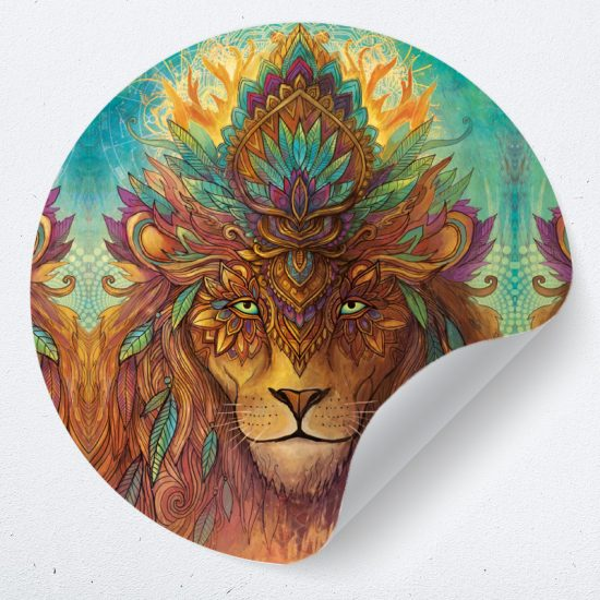 muurcirkel muursticker muurdecoratie woonkamer yoga namaste leeuw lion psychedelisch1