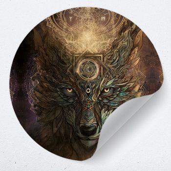 muurcirkel muursticker muurdecoratie woonkamer yoga namaste wolf psychedelisch 1