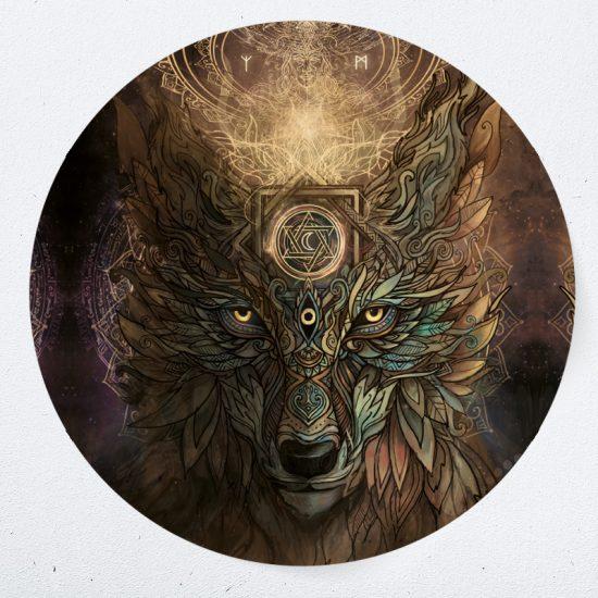 muurcirkel muursticker muurdecoratie woonkamer yoga namaste wolf psychedelisch